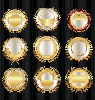 Leere goldene sammlung von luxus-etiketten