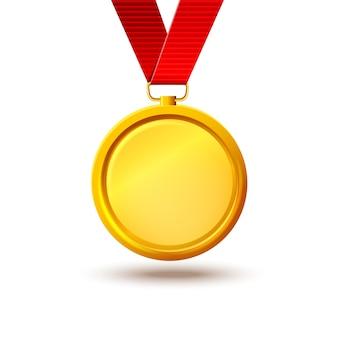 Leere goldmedaille auf einem roten band. vorlage für etwa die auszeichnung für den sieg der ersten leistung und qualität, mut, siegertag, 9. mai