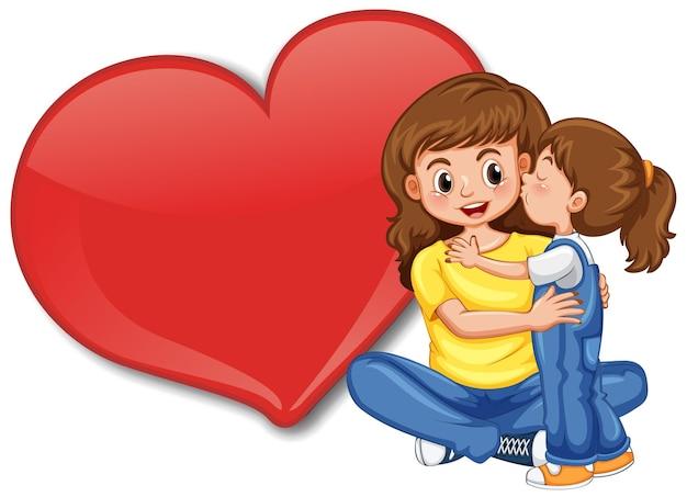 Leere große herzfahne mit mutter, die ihr kind umarmt