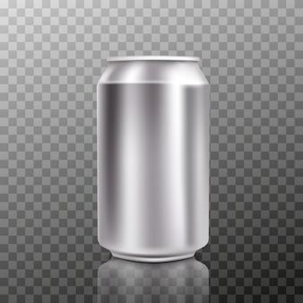 Leere große kalte aluminiumbierdose mit tropfen, 300 ml.