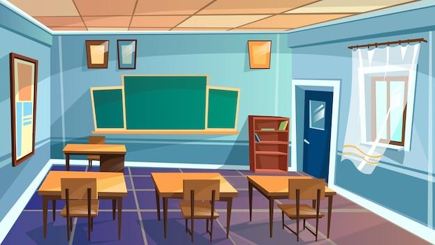 Leere grundschule der karikatur, college, hochschulklassenzimmerhintergrund