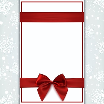 Leere grußkarte mit rotem band und schleife. einladungs-, flyer- oder broschürenvorlage. illustration.