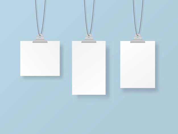 Leere hängende fotorahmen oder plakatvorlagen