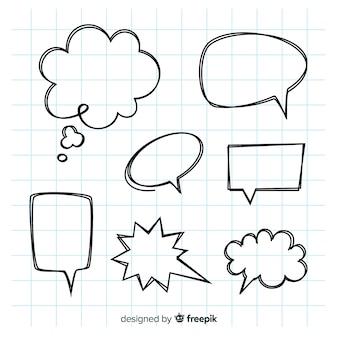 Leere hand gezeichnete spracheblasen eingestellt