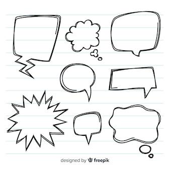 Leere hand gezeichneter spracheblasensatz