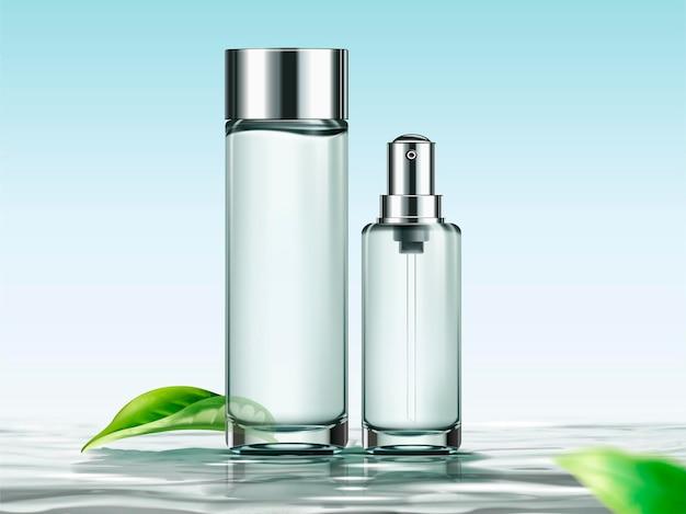 Leere hautpflegeflaschen-vorlage für designanwendungen in 3d-darstellung, behälter auf der wasseroberfläche