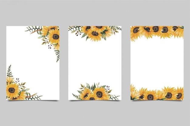 Leere hintergründe mit aquarell-sonnenblumenstraußdekoration