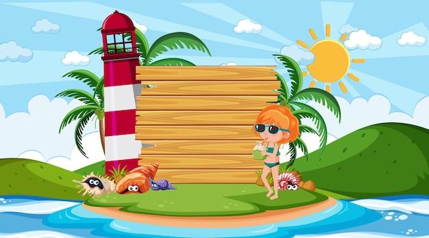 Leere hölzerne banner-vorlage mit kindern im urlaub am strand tagsüber szene