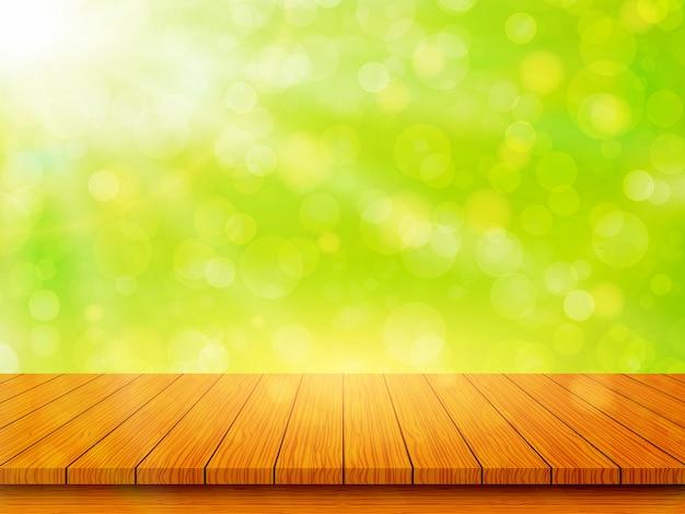 Leere hölzerne tischplatte auf unscharfem abstraktem grünem hintergrund. frühlings- und sommerkonzept. vektorillustration
