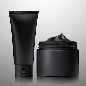 Leere holzkohle-kosmetikbehälter in 3d-darstellung