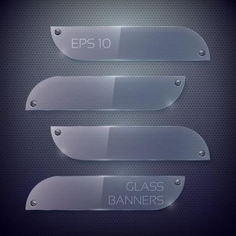 Leere horizontale glasbanner auf dunklem metallgitter