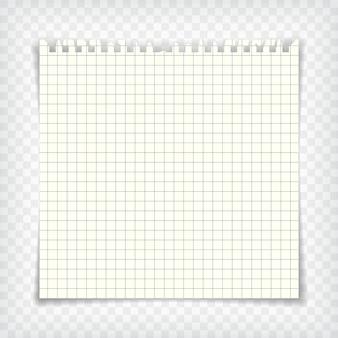 Leere karierte notizbuchseite mit zerrissenem rand. briefpapier-modell. grafikdesign-element für text, werbung, mathematik, doodle, skizze, scrapbooking. checkers papierstück. realistische vektorillustration