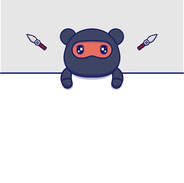 Leere karte mit niedlichem ninja-bären
