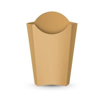 Leere kartonverpackung für pommes frites. fast-food-symbol für vorlage