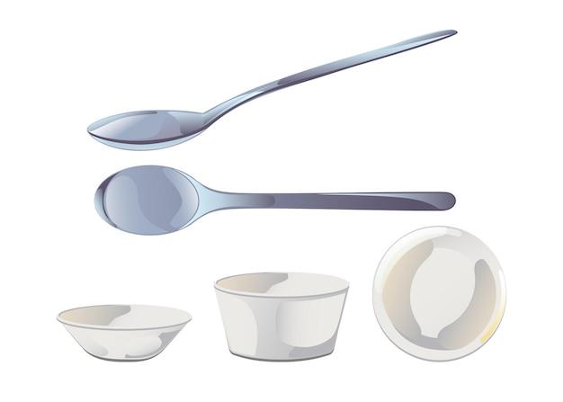 Leere keramiksaucenschüssel und metalllöffel im flachen cartoon-stil. vektor-illustration isoliert auf weißem hintergrund