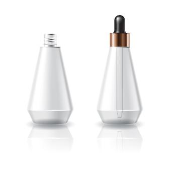 Leere klare kosmetische kegelformflasche