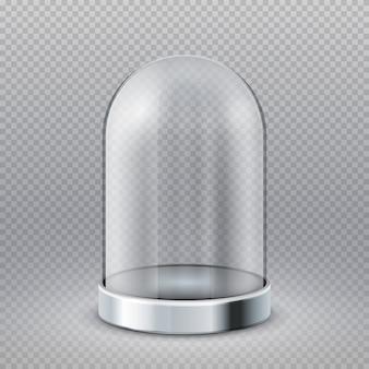 Leere klarglaszylinder-schaukastenhaube lokalisiert auf transparentem, vektorillustration. ausstellungsglasschaukasten, transparente haube des behälters