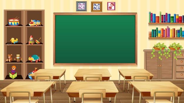 Leere klassenzimmerszene mit innendekoration und gegenständen Premium Vektoren