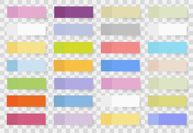 Leere klebeblätter aus klebepapier zur kennzeichnung. satz farbige verschieden geformte aufkleber und fahnen realistischen stil.