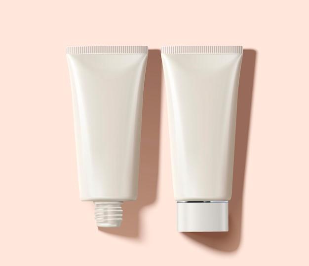 Leere kosmetikröhre im draufsichtwinkel, 3d illustration Premium Vektoren