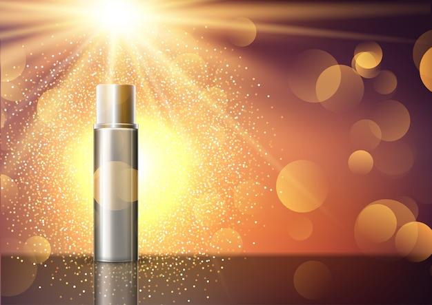 Leere kosmetische flasche auf dem display