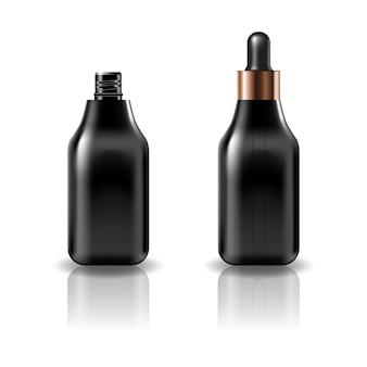 Leere kosmetische flasche des schwarzen quadrats mit schwarzem tropfendeckel.