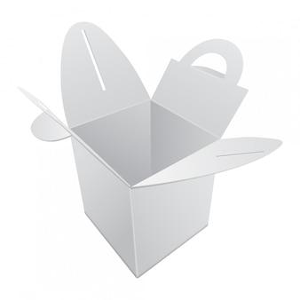 Leere kraftpapier geschenkbox. weißer behälter mit griff. geschenkbox vorlage, kartonpaket