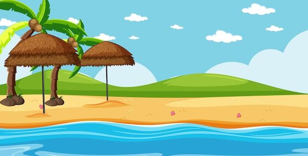 Leere landschaft in der naturstrandszene mit einigen kokospalmen und leerem himmel