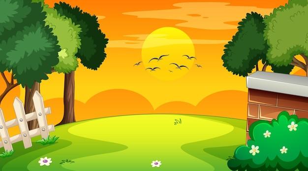 Leere landschaftsszene des naturparks bei sonnenuntergang