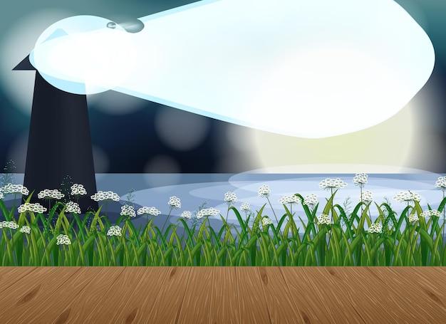 Leere landschaftsszene mit leuchtturm