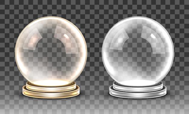 Leere magische kugel aus glas. transparente schneekugel
