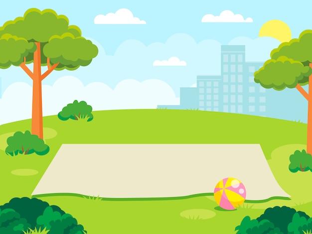 Leere matte für ein familienpicknick im park