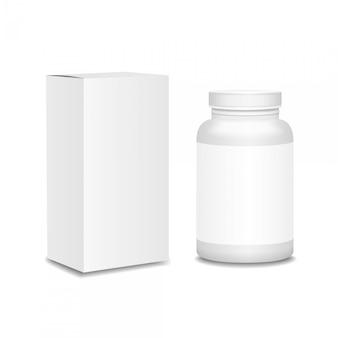Leere medizinflasche mit dem kasten realistisch