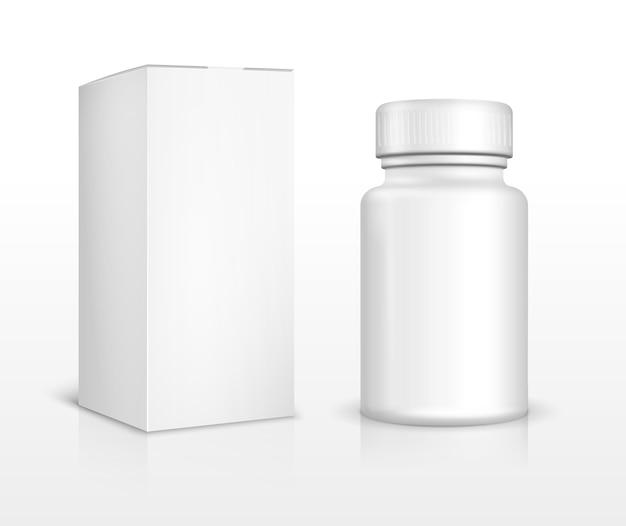 Leere medizinflasche und verpackungsbox. medizinische pille, medikamentenapotheke, medikamentenvitamin, schmerzmittel und medikament.