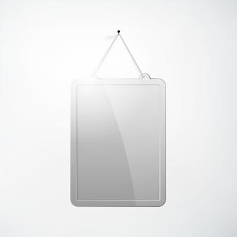 Leere metallbrettschablone, die auf nagel im realistischen stil auf weiß lokalisiert hängt