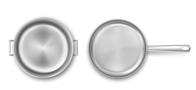 Leere metallkochtopf- und bratpfannen-draufsicht