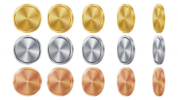 Leere münzen des gold-3d, des silbers, der bronze