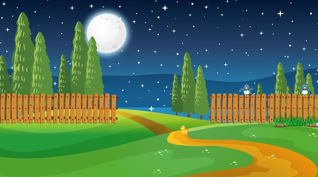 Leere naturparklandschaft bei nachtszene