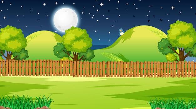 Leere naturparklandschaftsszene in der nachtzeit