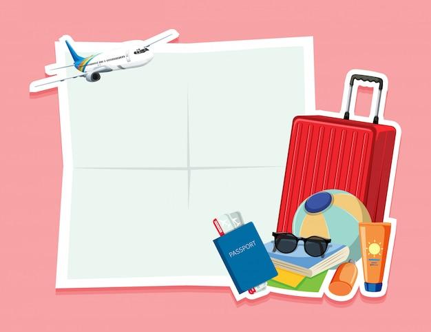 Leere notiz mit reiseobjekt