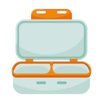 Leere offene brotdose mit zwei abteilungen. küchenbehälter mit deckel für lebensmittel