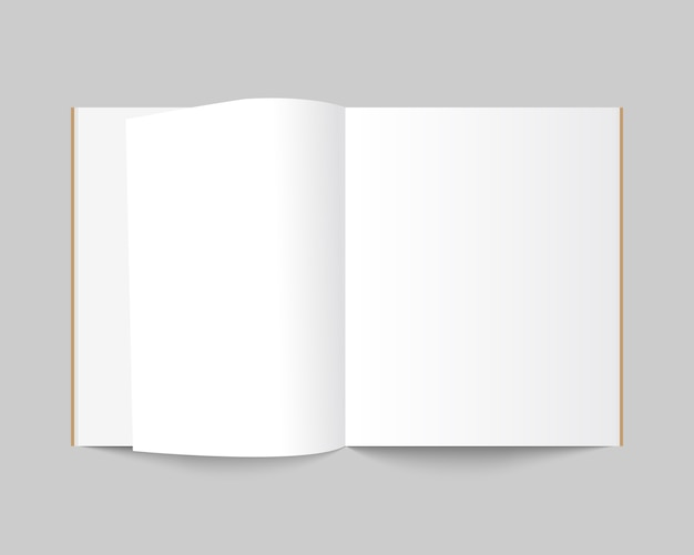 Leere offene zeitschrift, buch, notizbuch, broschüre, broschüre oder katalog.