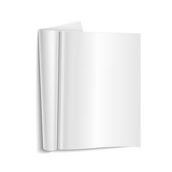 Leere offene zeitschriftenschablone auf weißem hintergrund mit weichen schatten. vektor-illustration