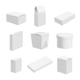 Leere pakete. vektordesign von verschiedenen paketen lebensmittel