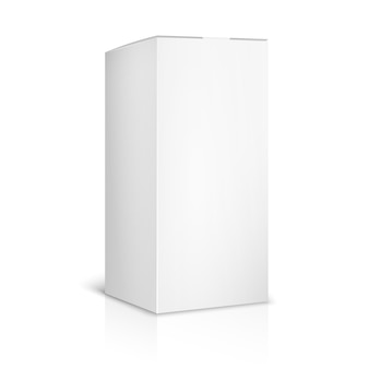 Leere papier- oder kartonschablone auf weißem hintergrund. behälter und verpackung. vektorillustration
