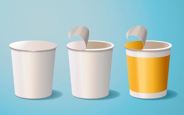 Leere papierschüssel, behältermodell isoliert