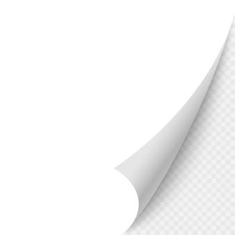 Leere papierseite gekräuselte ecke mit schatten. vektorschablonenabbildung für ihre auslegung