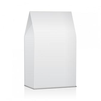 Leere papiertüte lebensmittelverpackung mit kaffee, salz, zucker, pfeffer, gewürzen oder snacks. vorlage für produktpaket