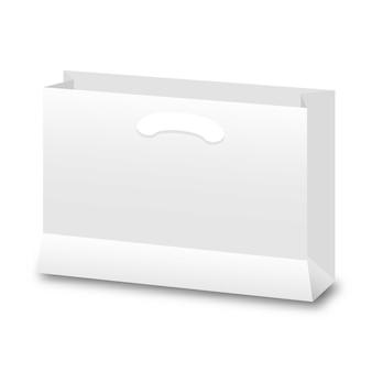Leere papptasche auf weiß für die werbung und das einbrennen