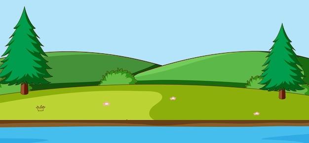 Leere parklandschaftsszene mit fluss